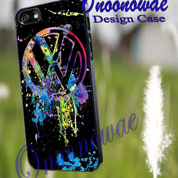 VW Emblem Splatter for iPhone 4/4S/5/5S/5C Case, Samsung Galaxy S3/S4/S5 Case, iPod Touch 4/5 Case