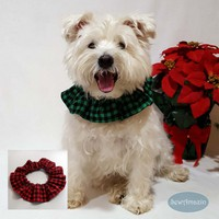 Buffalo Plaid Dog Scrunchie Neck Ruffle, Red or Green