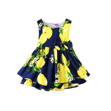 New Sleeveless Ball Gown Girl Dress Print Bow Baby Dress Girls Clothes Children Dresses 2-6 Years SM6