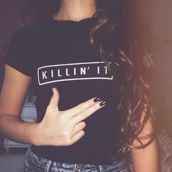 killin it print t shirts tee for women girl 1  number 1