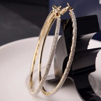 Women Crystal Diamante Rhinestone Large Hoop Round Dangle Earring Jewelry