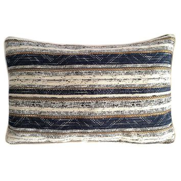 """Cotton Blended Striped Pattern 12""""x20"""" Blue-Cream Pillow Case/Cushion Cover"""
