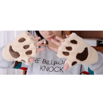 Cute Cat Paw Claw Plush Mittens Short Fingerless Finger Half Gloves for Winter Women