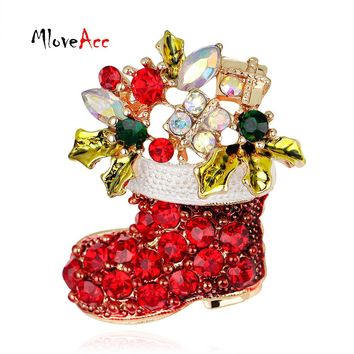 MloveAcc Christmas Gifts Nice Red Shoe Boot Brooches Pins for Women Full Rhinestones Christmas Brooches for the New Year