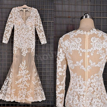 Champagne Tulle White Lace Applique Long Prom Dresses, Long Sleeves Prom Dress,Party Dresses, Evening Dresses, Wedding Party Dresses
