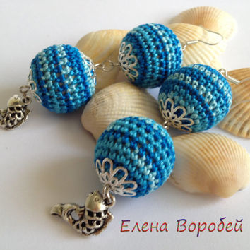 "Earring ""Fish""/ Crochet Earrings/ Blue Earrings/ Crochet Jewelry/ Modern Crochet Earrings/ Crochet Wooden Dangle Earrings/Fashion Jewelry"
