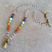 Patience, Chakra Gemstones and Quartz Crystal Turtle Pendant Mala Necklace