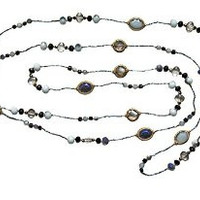 "Necklace Handcrafted Silver Glass and Crystal Beads 80"" Long Black  Blue"