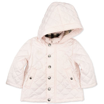 Jerry Quilted Hooded Jacket, Pink, 6M- 2Y, Size: