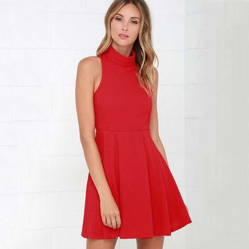 Red Sleeveless Halter Backless Dress