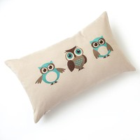 Three Owl Embroidered Decorative Pillow (White)