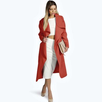 Wool Waterfall Duster Coat