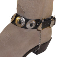 WX-BC-70-BK Boot Chain - Black Leather with nickel plated conchos