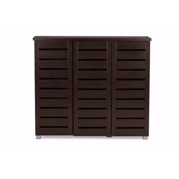 Adalwin Modern and 3-Door Dark Brown Wooden Entryway Shoes Storage Cabinet By Baxton Studio