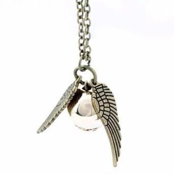 Charming Golden Snitch Pendent Necklace