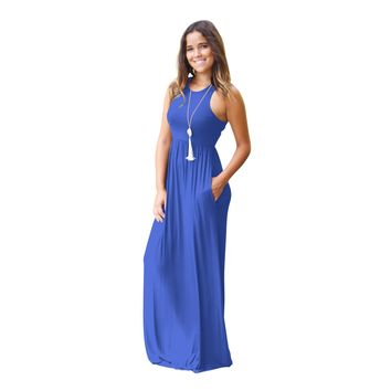 Sleeveless tunic beach long dress 10 colors casual vest dress with pocket summer female brand sundress DHL free shipping