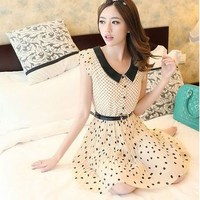Kawaii Lolita Polka Dots Short Sleeve Turn-down Collar Chiffon Pleated Dress - S M L XL from Tobi's Finds