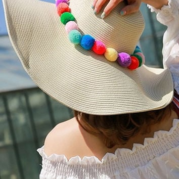 Foldable Wide Large Brim Floppy Beach Hat Sun Straw  Hats Ivory  Hats Ivory W/ PomPom