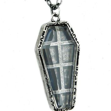 ac spbest Antique Silver Finish Catacomb Coffin Necklace Gothic Jewelry