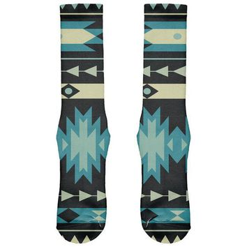 DCCKU3R Native American Pattern Blue All Over Crew Socks