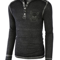 LE3NO Mens Lightweight Vintage Soft Waflle Knit Thermal T Shirt (CLEARANCE)