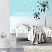 Wall Decal Vinyl Sticker Decals Art Decor Design 2 Dandelions Flower Hearts Nature Botanic Grass Forest Bedroom Living Room Nursery (r1213)