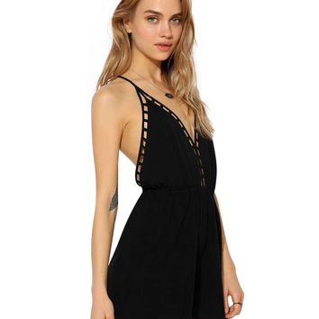 Black Plunging V-Neckline Backless Romper with Cut-Outs Trim