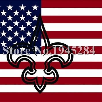 NFL New Orleans Saints Hollow Out Shape With US Flag Banner New 3x5ft 150x90cm Polyester Flag Banner, free shipping