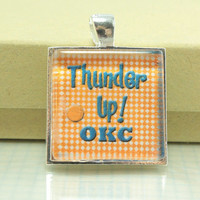 School Spirit Pendant Custom Made, Glass Tile in Pendant Tray