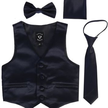 Navy Blue Satin Boys 4-pc Vest Set w. Ties & Pocket Square 3M-14