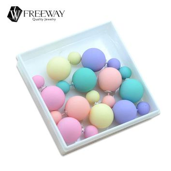 5pair/lot 2016 Fashion Jewelry Women Earrings Double Sided Matte Ball Simulated Pearl Stud Earrings For Women Set Girl Colorful