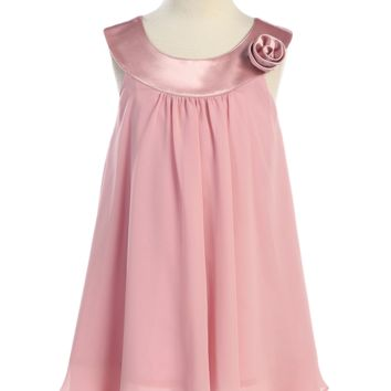 Girls Rose Pink Chiffon Shift Dress with Satin Trimmed Yoke Bodice 2T-14
