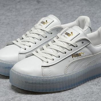 fenty rihanna puma creepers mens womens leather shoes white blue  number 1