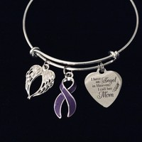 Mom Memorial Jewelry Adjustable Charm Bracelet Purple Awareness Ribbon Silver Expandable Bangle One Size Fits All Gift Angel Wings