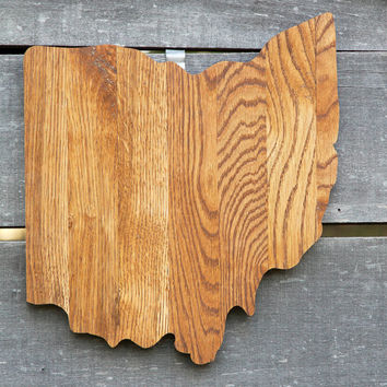 Ohio state shape wood cutout wall art handcrafted from repurposed Oak flooring 14x17 in. Wedding Housewarming Cabin Rustic Gift Decor