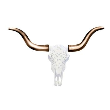 The Carved Austin | Large Carved Longhorn Cow Skull | Faux Taxidermy | White + Bronze Longhorn Resin