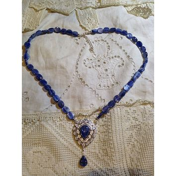 Vintage Real Blue Kyonite and white sapphire 925 Sterling Silver Necklace