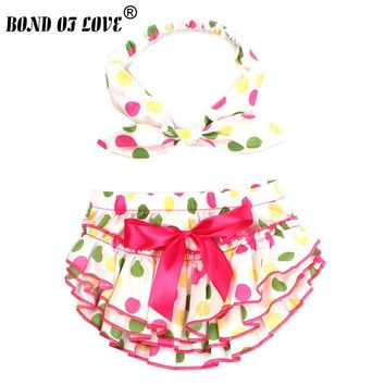 Baby clothes Girl Ruffle Bloomers Diaper Cover And Headband Toddler Cotton Colored Dots Bowknot baby Shorts 2 Colors YC028-1