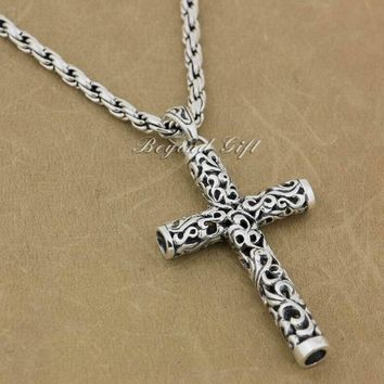 925 Sterling Silver Cylinder Cross Pendant Necklace 24""
