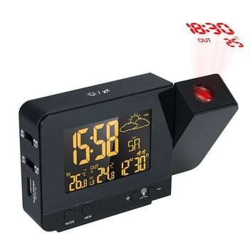LCD Digital Projection Alarm Clock Radio-Controll Wireless Weather Station Projection Clock with Date Dual Alarm Snooze Function