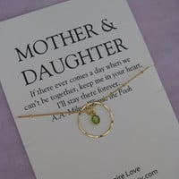Mom. MOTHER Daughter Necklace. 50th birthday Gift Mother Daughter. 60Th BIRTHDAY Mother Necklace. Delicate GOLD Eternity Necklace. Peridot.
