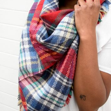 Navy Multi Blanket Scarf
