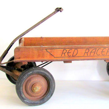 Antique Wagon Wood Red Rider 1930s by NifticVintage on Etsy