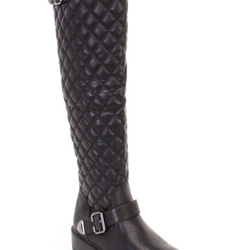 Black Quilted Buckle Strappy Riding Boots Faux Leather