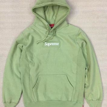 Supreme Black Box Logo Hoodie Green