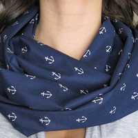 Navy Anchors Away Infinity Scarf