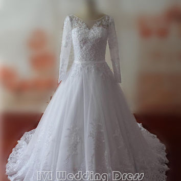 Gorgeous Full Sleeves Wedding Dresses with Lace LongTrain Scoop Neckline Wedding Gowns with Sash Backless Bridal Gowns Chic Bridal Dress