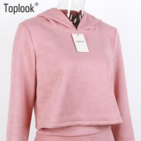 Toplook Pink Suede Womens Sets Two Piece Sets Hooded Sweater