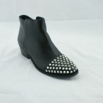 Steve Madden Praque Black Leather Studded Booties Women's 7 M