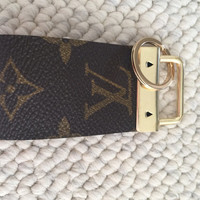 Key Fob gold finished hardware key chain made of Louis Vuitton canvas #3128